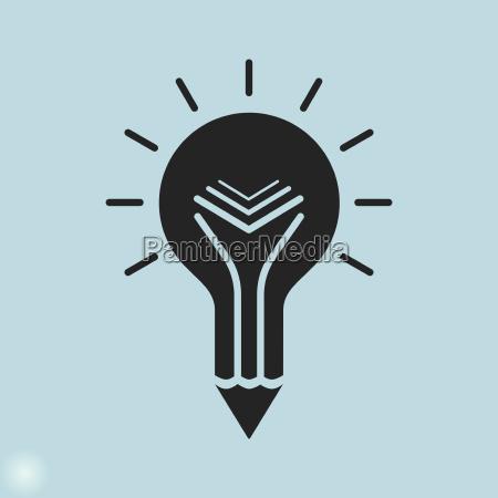 icone de educacao criativa lampada e